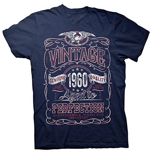 60th Birthday Gift Shirt - Vintage Aged to Perfection 1960 - Navy-003-XL