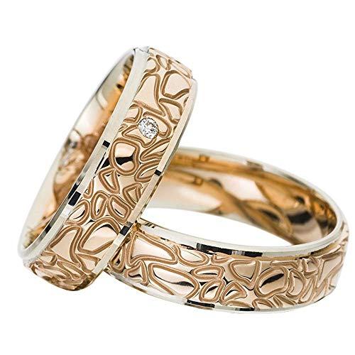 CORE by Schumann Design Trauringe Eheringe aus 585 Gold (14 Karat) Weißgold/Rotgold Bicolor mit echten Diamanten GRATIS Testringservice & Gravur 19101126