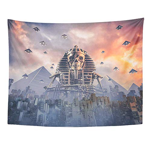 ShiHaiYunBai Wandteppiche, Tapestry Wall Hanging Gods of New Egypt 3D Science Fiction Scene Showing Skeleton Pharaoh Figure 60