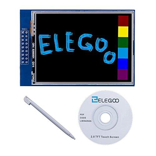 ELEGOO 2.8 Inches TFT Touch Screen 320x240 con SD Card Socket con Tutorial in Inglese e Tutte le Tecniche in un CD