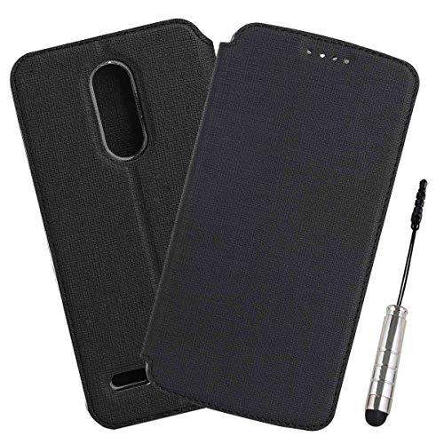 Ycloud Geschäft PU Leder Tasche für LG K11 / K10 2018 Wallet Flipcase mit Standfunktion Kartenfächer Entwurf Schwarz Leinen Stil Hülle