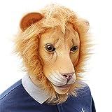 DUDUCHUN Máscara león látex Halloween, Máscara Bestia Animal del Bosque Máscara de Animal de Cabeza Completa para el Festival de Halloween Fiesta de Baile Disfraz de Mascarada Carnaval Cosplay