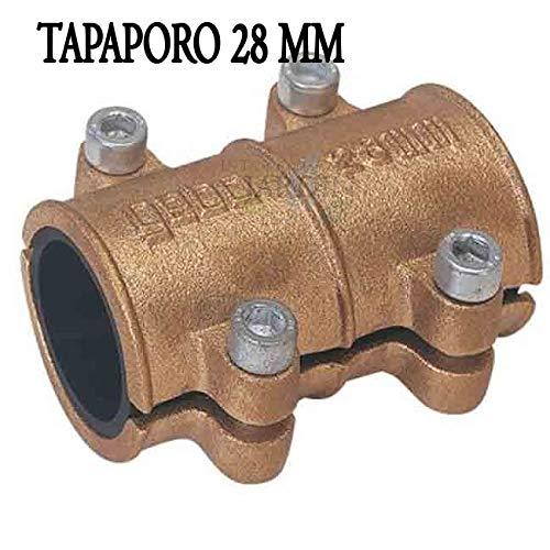 Suinga - TAPAPORO 28MM COBRE. Abrazadera reparación para tuberia 28 mm. Goma interior que impide el paso de agua hacia el exterior.