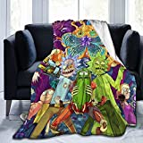 Rick and Morty Throw Blankets Ultra-Soft Micro Fleece Blankets for Bed, Couch, Ultra Luxurious Warm and Cozy for All Seasons