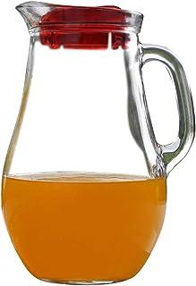 Pasabahce Turkish Glass Water Jug wih Red Acrylic Lid (1855 ml)