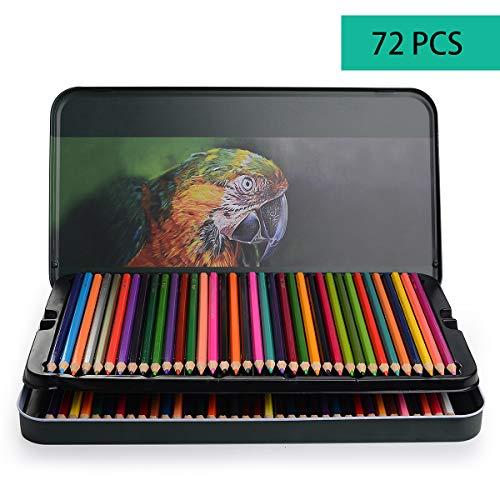 72 Buntstifte mit Metallbox - 72 Einzigartige Farben für Zeichnung und Malbuch - Aquarell Bleistifte Set - Ideales für Künstler Erwachsene und Kinder Gemälde, Skizzen