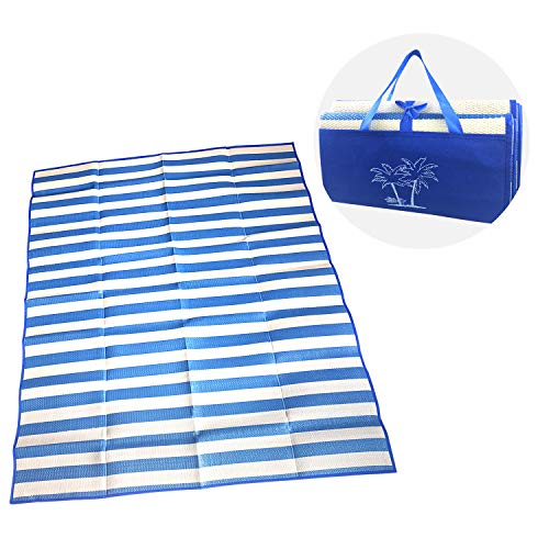 Reversible Rug, Plastic Straw Mats, Fade Resistant Area Rug, Large Floor Mat and Rug for Outdoors Indoor, RV, Patio, Picnic, Beach, Camping, Lightweight & Durable (4.9' x 5.6') (Blue)