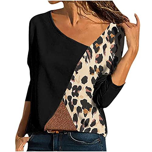 MasterUnion Women's T-ShirtsPullover für Damen Frauen Casual Tops Leopard O-Neck Spleißen Langarm Bluse T-Shirt i-Black XX-Large