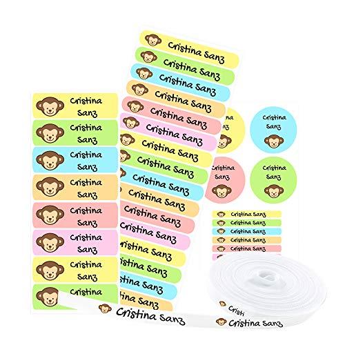 Pack 155 etiquetas personalizadas para marcar ropa y objetos. 100 Etiquetas de tela termoadhesiva + 55 etiquetas adhesivas de vinilo. (ANIMALS)