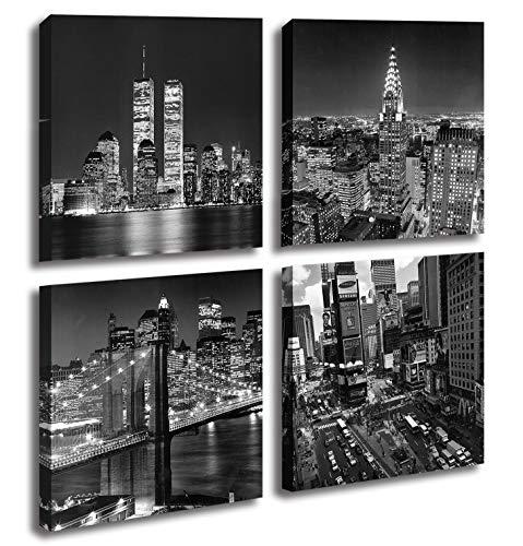 New York City Canvas Wall Art Print Black and White Brooklyn Bridge,Empire State Building