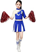 Girls Cheerleader Uniform High School Cheering Costume Outfit Carnival Party Halloween Cosplay Outfits with Socks Pompoms