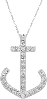 0.10 Carat (ctw) 14K Gold Round Diamond Ladies Anchor Pendant 1/10 CT (Silver Chain Included)