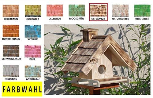 vogelhaus,mit Futterspender,K-BEL-VOWA3-dbraun002 Großes Vogelhäuschen + 5 SITZSTANGEN, FUTTERAUTOMAT + SICHTGLAS für Vorrat PREMIUM-Qualität,Vogelhaus,- ideal zur WANDBESTIGUNG – Futterhaus, Futterhäuschen WETTERFEST, QUALITÄTS-Standfuß-aus 100% Vollholz, Holz Futterhaus für Vögel, MIT FUTTERSCHACHT Futtervorrat, Vogelfutter-Station Farbe braun dunkelbraun schokobraun rustikal klassisch, Ausführung Naturholz MIT TIEFEM WETTERSCHUTZ-DACH für trockenes Futter - 5