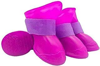 Hundskor stövlar vattentäta hund kattskor hund valp sockor anti-slip regn snö husdjur stövlar paw skyddare för katt lila s...