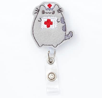 Cat ID Holder Funny Cat Gift for Cat Lover Nurse Badge Reel Steampunk Cat Badge Reel Cat Badge Reel Retractable Badge