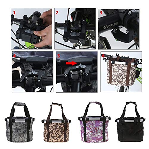 XIGUI Bike Basket, Collapsible Bike Basket, Removable Bicycle Handlebar Front Basket, Quick Release and Easy to Install, Detachable Cycling Bag for Pet, Shopping, Commuter, Camping and Outdoor