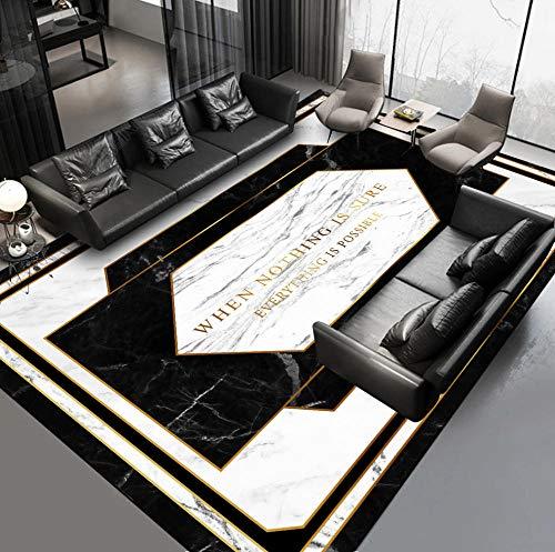 VGFGI Patrón de mármol geométrico Blanco y Negro Letras Cocina Dormitorio cabecera impresión 3D Antideslizante Sala de Estar área de decoración Alfombra Felpudo