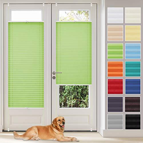Vkele Plissee ohne Bohren klemmfix Jalousie (Grün, B50cm x H130cm) Faltrollo Sichtschutz und Sonnenschutz Lichtdurchlässig Rollo für Fenster & Tür