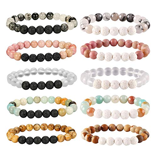 Besteel 10 Pcs Aromatherapy Oil Diffuser Bracelets for Women Lava Stone Bead Bracelet Set 8MM
