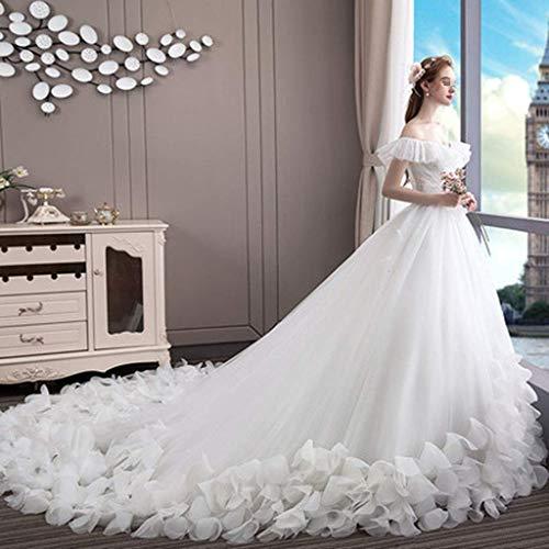 FTFTO Wohnaccessoires Stilvolle Einfachheit Kleid Braut EIN-Schulter-Stil im koreanischen Stil Schlank Einfaches Kleid mit großem Schwanz Hotel Church Party Elegantes Kleid (Weiß) Mittel