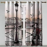 Dining Room Curtains Music Accordionist Playing Paris Street Urban European Famous City Panorama Graphic Scene Peach Brown Modern Curtains 96x72 Inch