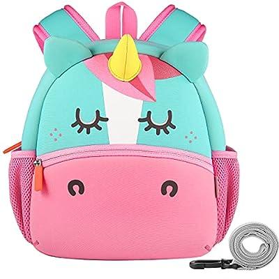 GAGAKU® Mochila infantil para niñas de 2 a 6 años con dibujos animados en 3D, de neopreno, para guardería, con correa para el pecho y correa antipérdida, diseño de unicornio rosa con búhos unicornio S