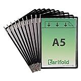 Tarifold Es 115007 – Pack de 10 Fundas A5 PVC Recambio Expositor de Pared y Sobremesa para Catálogos, Color Negro - 10 unidades