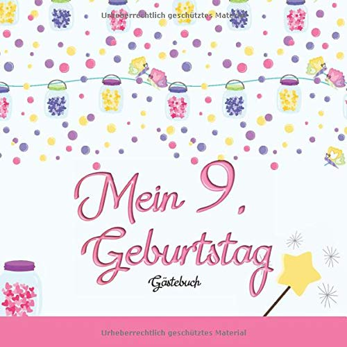 Mein 9. Geburtstag: Gästebuch I Deko Rosa I für 60 Gäste I Geschriebene Glückwünsche & die...