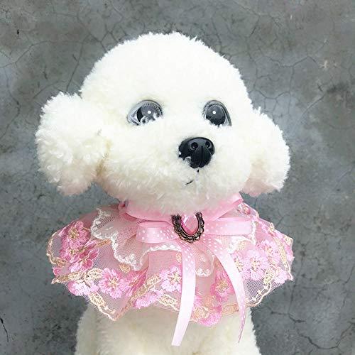 Collar de encaje para perro y perro, collar de bufanda, collar hecho a mano, corona de mascotas, gato, flor artificial, tocado accesorios_S
