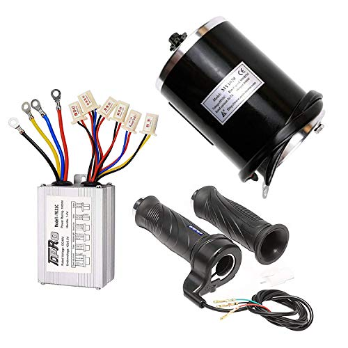 TDPRO 48V 1000W Brushed Speed Motor & Controller & Throttle Grip Kit for Electric Scooter Go Kart Bicycle e Bike Tricycle Moped