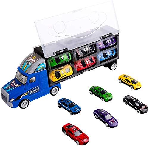 m zimoon Camión de Transporte, Transportador de Automóviles Juguete Conjunto Playset con 12 Mini Coches de Metal Coloridos para Niños y Niñas