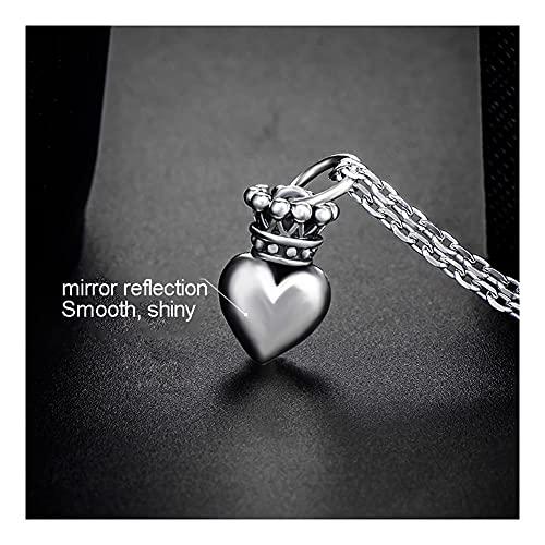 WYH Gargantilla Collar de Mujer 925 Plata esterlina Colgante Corona corazón Forma de joyería de Moda joyería Joyería (tamaño : Silver Chain 45cm)