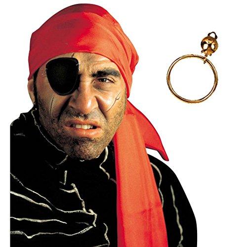 NET TOYS Set de Pirate Bandeau Pirate Boucle d'oreilles Bague kit de Pirates Accessoires Accessoire Mardi Gras Carnaval
