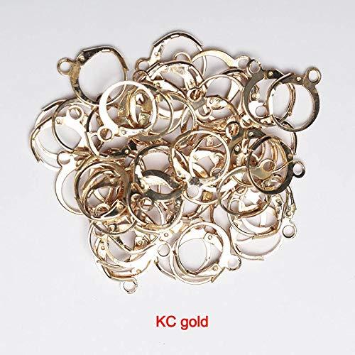 QWERTYU LIJIANME 50 Stuks 13x15 Mm Oro Plata Kleur Pendiente Franse Enganche Slangetje Pendientes Montaje Oo Instellen Base Voor de Bricolaje joyería Maken Accesorios (Kleur : KC Gold)
