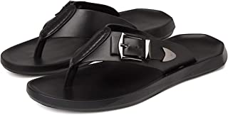 AUCDK Men Leather Flip Flops Fashion Breathable Thong Sandals Summer Clip Toe Shoes Flat Beach Slippers