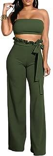 Tube 2 Piece Outfits for Women Ruffles High Waist Wide Leg Long Pant+Strapless Crop Top Sets