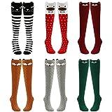 PHOGARY 6 Paar lange Kniestrümpfe Kniehohe Langsocken für Mädchen, mit verschiedenen Tier-Motiven und Farben.
