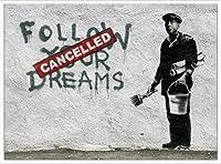 ポスター バンクシー Follow Your Dreams 額装品 アルミ製ハイグレードフレーム(ホワイト)