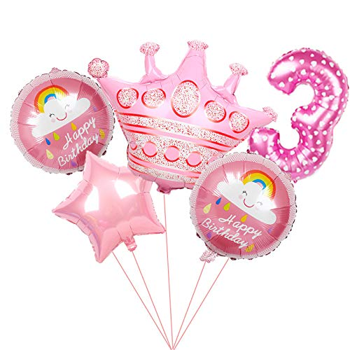 ENXI Balloon 6pcs large pink Princess Crown Foil Balloons blue number 1st birthday party Decorations kids globos baby shower party Supplies (Color : Agate)