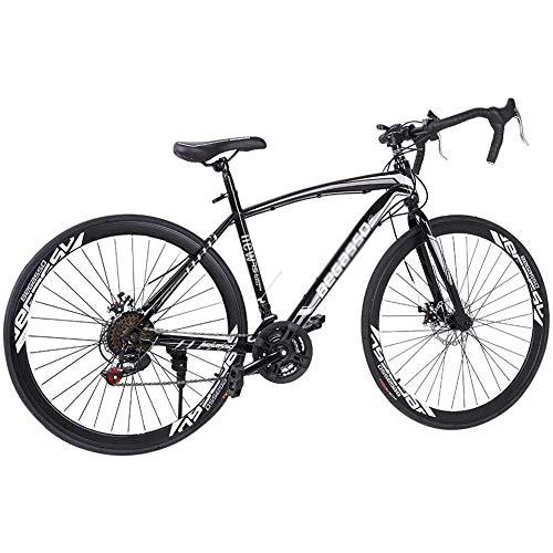 DNNAL 700C Bicicleta de Carretera, Variable MTB Velocidad de Bicicletas de la Ciudad de cercanías Bicicletas híbrido de Bicicletas de Ruta para Hombre/Mujer,Negro