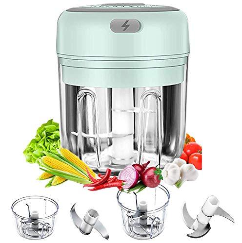 Mini Tritatutto Elettrico, Tritatutto da Cucina 250 Ml / 100 Ml Con Ricarica USB, Con 2/3 Lame Affilate Multifunzionale Mini Tritare Robot Per Carne, Verdure,Cipolle e Frutta