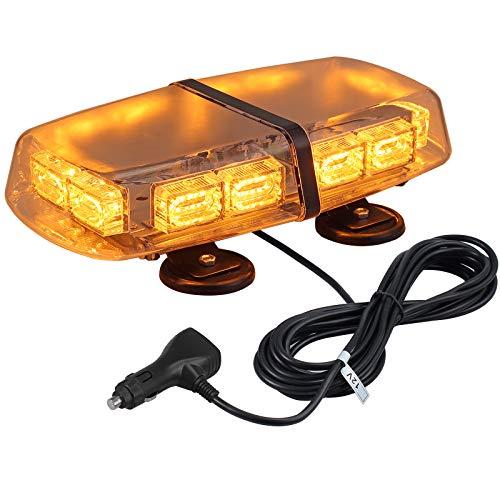 72 LEDs Rundumleuchte, bernsteinfarbenes Stroboskoplicht, 7 Modis Amber Warnleuchte, Blinklicht mit 4 starkem Magnetfuß + 5M Netzkabel Steuerschalter, 12/24V Notsicherheits Warnung Nebelscheinwerfer