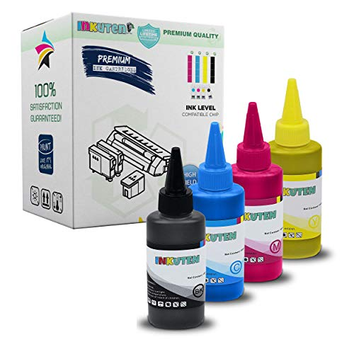 INKUTEN 4 Bottles Refill Ink (100ml Black, 100ml per Color, Total 400ml) for Brother LC3019, LC3017 Work on Brother MFC-J6930DW MFC-J6530DW MFC-J5330DW MFC-J6730DW Printer