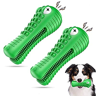 Am Bulan 2 Pack - Alligator Chew Toys for Medium/Large Dogs - Indestructible Aggressive Chewers Toy - Dental Care & Teeth Cleaning