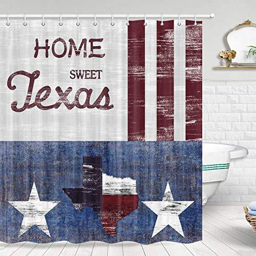 JAWO Texas Map Duschvorhang, Texas-Flagge auf rustikalem, rustikalem Holzbrett, amerikanischer Südwestern, Badezimmer-Duschvorhang-Sets, Stoff-Duschvorhang-Haken enthalten, 178 cm