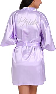 Lovacely Women's Satin Kimono Short Robe for Bride Wedding Party Getting Ready Robes with Rhinestones Dressing Gown