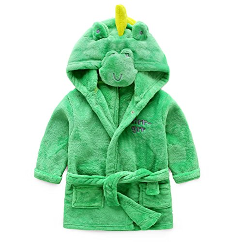 Jungen Mädchen Bademäntel, Kleinkind Kinder Kapuzen Robe, Animal Pyjamas Bademantel Nachtwäsche für Mädchen Kinder (Grüner Dinosaurier, 4T / Höhe 110cm)
