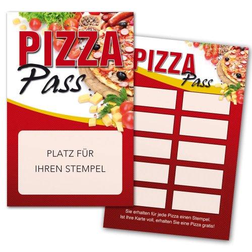 Pizza Pass / Bonuskarte Pizza / Treuekarte, Gutschein mit Stempelfeld 1000 Stück