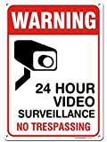 24 Hour Video Surveillance - No Trespassing Sign, Aluminum, 10'x 14'