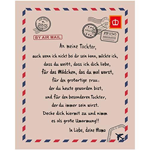 shenruifa Personalisierte Fleecedecke An Meine Tochter Brief Gedruckt Quilts Luftpost Flanell Wolle Decke Papa Mutter Ermutigen Und Lieben für Töchter Flanell Decken Weihnachten Geschenk, Deutsche